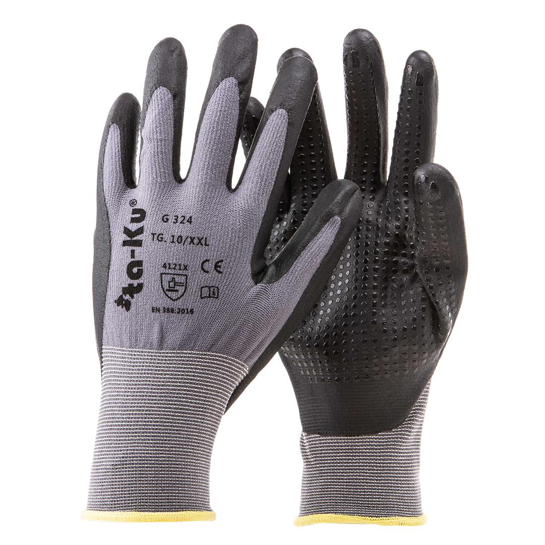 G324 guanto nylon grigio nero